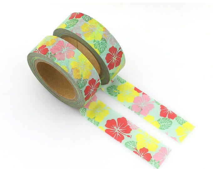 Hibiscus Washi Tape - Floral Washi Tape - Green washi Tape - Paper Tape - Planner Washi Tape - Washi - Decorative Tape - Deco Paper Tape