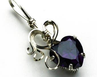Amethyst Heart Shaped CZ Swirls and Curls Silver Filled Wire Pendant