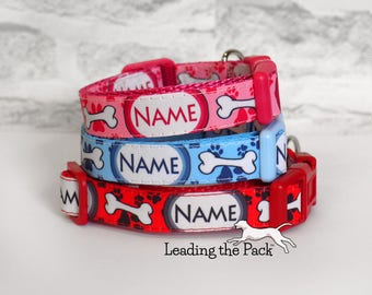 15mm wide handmade personalised dog collar, personalized dog collar, dog's name, adjustable clip dog collar, in 3 colours