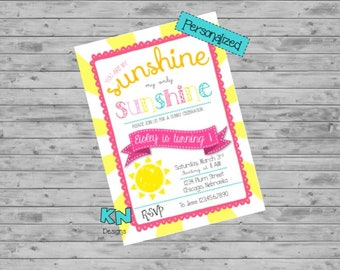 Sunshine Birthday Invitation, Sunshine Birthday, Sunshine Girls 1st Birthday Invitation, Sunshine Birthday Party Invitation, Sunshine, Girl