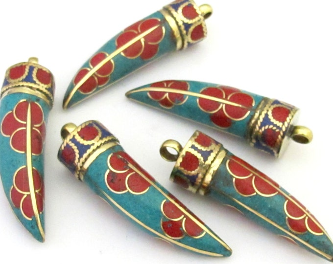 1 Pendant - Long turquoise coral lapis inlaid Tibetan tusk sword shape Brass pendant with floral design from Nepal - PM290B