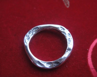 925 sterling silver oxidized hammered circle connector, silver connector