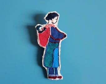 Brooch embroidered and painted by hand, character with baby