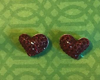 Sterling Silver Swarovski Crystal Heart Post Earrings