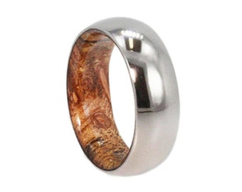 Mens Titanium Ring With A Sindora Wooden Sleeve, Handmade Wood Wedding Band