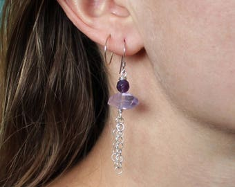 Amethyst and Sterling Silver Earrings, Bead Earrings, Natural Gemstone, February Birthstone, Dangle Earrings, Boho, Hippie, Ready to Ship