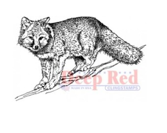 Deep Red Rubber Stamp Winter Foxy Fox Nature Hunting