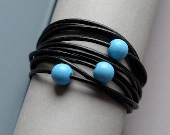 Black leather bracelet, Minimalist leather bracelet, Leather beaded bracelet, Leather jewelry, Black jewelry, Black women accessories