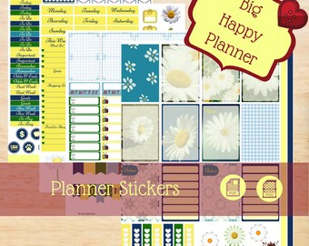 Daisy, Big Happy Planner, Happy Planner Stickers, Big Happy Planner Stickers, Yellow & Green Stickers, Daisy Stickers