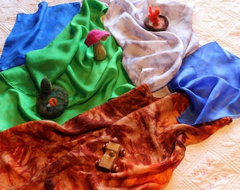 Landscape Silk Set ~ Playsilks ~ Earth, Air/Stone, Grass, Water ~  Hand Dyed!