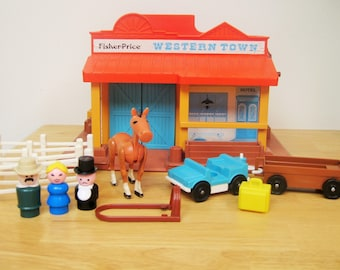 Vintage Fisher Price Little People Western Town