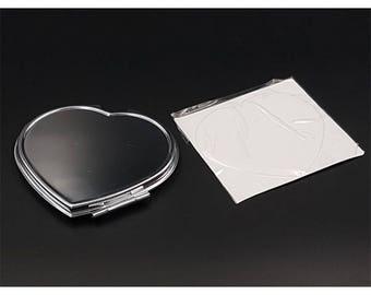 Customize heart mirror sticker heart cabochon