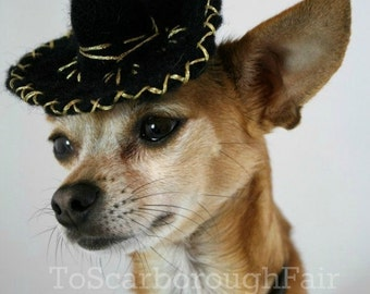 Dog Sombrero - Small Dog Sombrero - Cinco de Mayo - Black Mariachi Hat