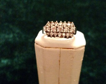 Vintage Cubic Zirconia Sterling Silver Ring Size 7 5.0g AFSP