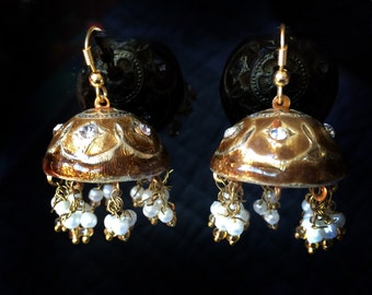 Jaipur Jhumka earrings,Lac Earrings,Brown Gold jhumkas,Crystal Earrings,Vintage Jewelry by Taneesi