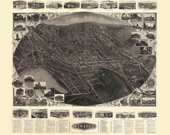 Winsted Connecticut  1908 Birds Eye View CT Reprint