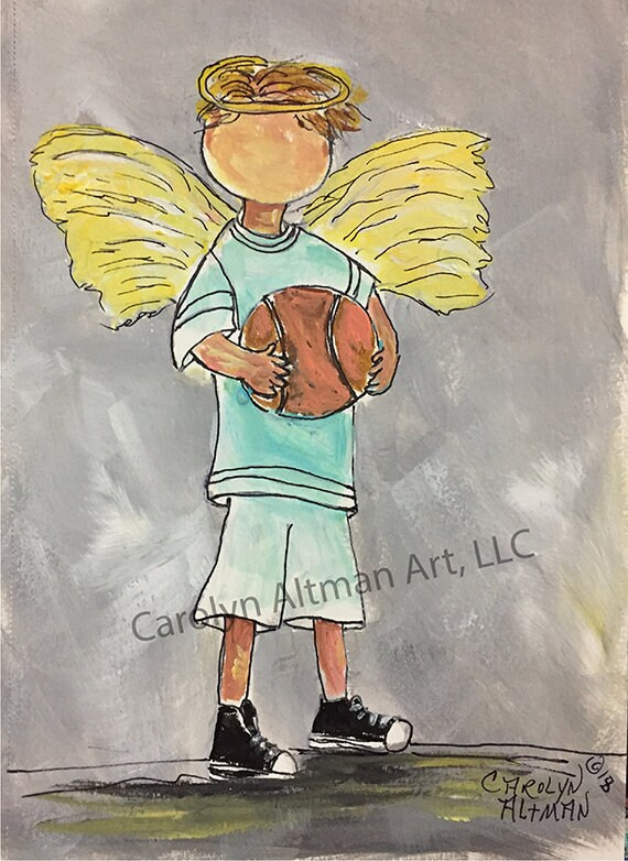 Angel on the Basketball Court Prints and Note Cards| God is My Referee He wrote the Rules | Carolyn Altman Art