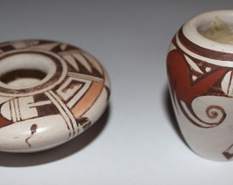 Pottery : Two Fine Miniature Traditional Hopi Pottery Polychrome Pots by Leona Navasie #65