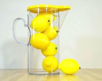 Jahrgang Dansk Gourmet Designs gelb Deckel durchsichtigen Kunststoff Mod Krug 2 Quart