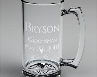 2 Personalized Wedding Engraved Groomsman Beer Mugs Custom Engraved