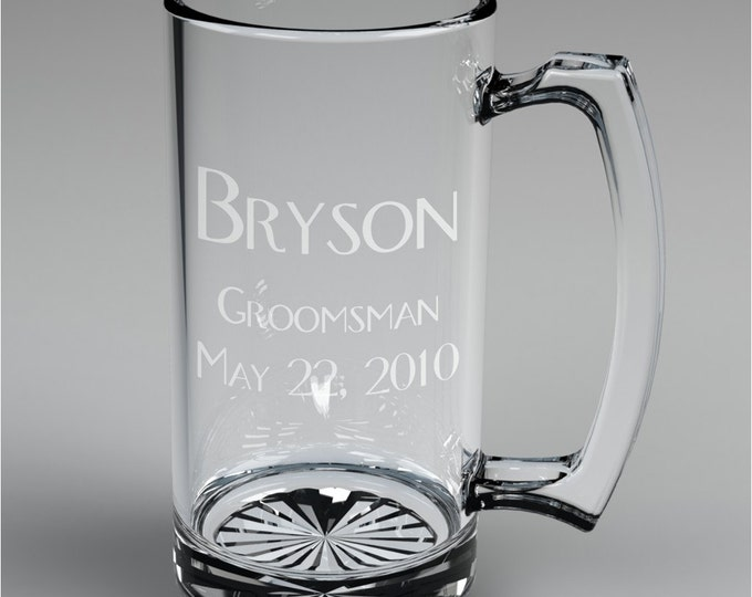 2 Personalized Wedding Engraved Groomsman Beer Mugs Custom Engraved