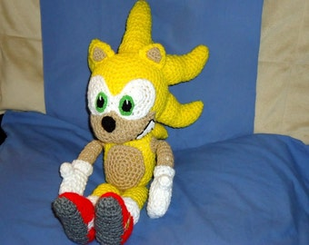 Super Sonic pattern - crochet animal doll pattern - geekery crochet hedgehog pattern - crochet amigurumi pattern pdf instant download
