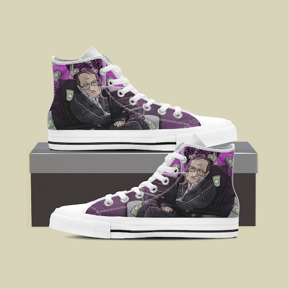 Stephen Stephen Hawking Shoes Top High Converse Converse Hawking Custom Custom Sneaker Hawking Space Shoes Custom Black Hole Science RAWBrnR