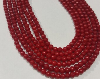 Coral Round beads 3mm, Chinese Coral , Length 16""