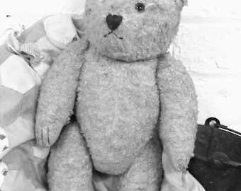 Adorable straw filled cotton plush antique vintage teddy bear glass eyes excellent condition