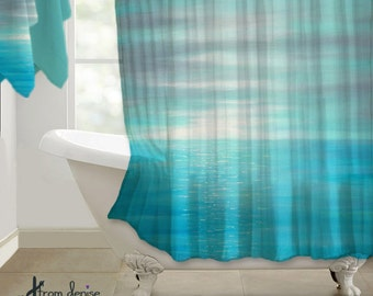 Coastal Shower Curtain Beach Bathroom Decor Teal Aqua Gray Turquoise Blue Ocean Bath High Quality Fabric Sunset Art Nature Theme