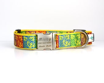 Multi color Dog Collar with Personalized Laser Engraved Buckle - Fall Harvest