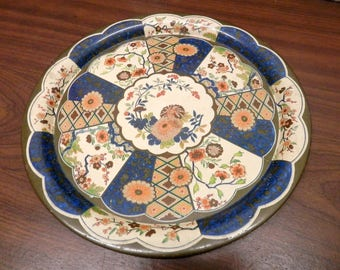 Vintage Metal Tray with Asian Mums Design 10 inches in diameter Made by Daher Ware Holland