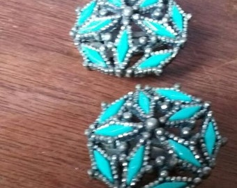 Faux Native Turquoise Needlepoint Vintage Clip Earrings