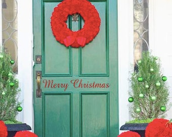 Merry Christmas Door Decal, Front Door Vinyl Decals
