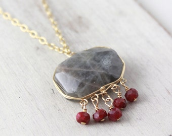 Labradorite and Ruby Gold Wrapped Necklace