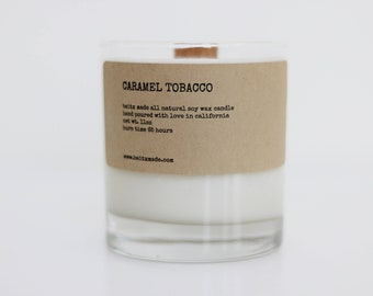 Tobacco candle, wooden wick soy candle, wooden wick candle, wood wick soy candles, manly candles, whiskey gifts for men, whiskey candle