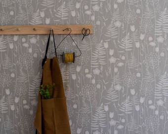 SAMPLE // Warm Light Grey Floral Fern Tonal Botanical Woodland Wallpaper Bronte Sisters // Charlotte's Garden in 'Mist' by Hannah Nunn