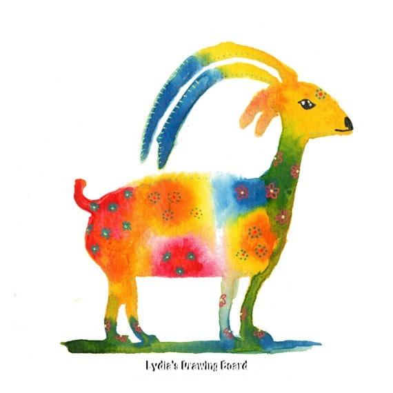 Ibex, Goat, Goat Art, Capricorn, Capricorn Art, Animal Art, Animal Artwork, Animal Art Print, Whimsical Art, Nature Art, Kids Room Wall Art