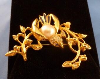 Gold Bird on a Branch With Rhinestone Brooch.