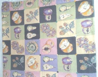 """Vintage Bloomingdales Tablecloth Cotton Linen 51"""" x 53"""" Fruit and Flowers"""