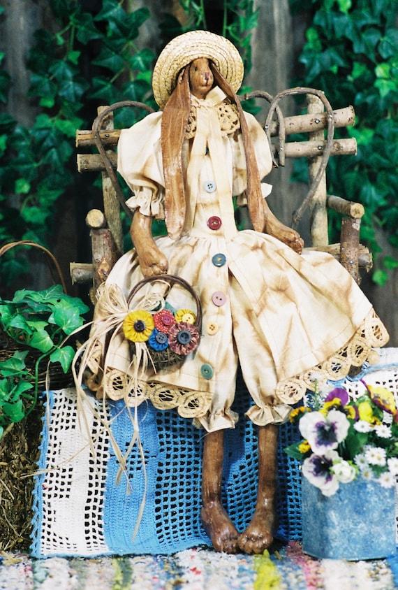 Priscilla - Cloth Doll E-Pattern  24in PrimitivebVictorian Girl Bunny Rabbit