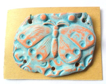 Butterfly Distressed Turquoise Glazed Terra Cotta Focal Pendant Finding
