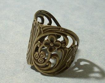 Adjustable Brass Floral Ring, Floral Filigree Ring, Wrap Ring