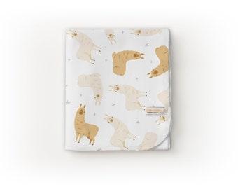 READY TO SHIP - Llama Blanket / Farm Theme / Farm Nursery - Name Blanket / Swaddle Blanket / Organic Baby Blanket / Organic Swaddle