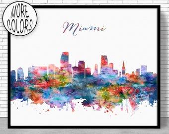 Miami Skyline Miami Print Miami Florida Office Decor Office Art City Skyline Prints Skyline Art ArtPrintZone