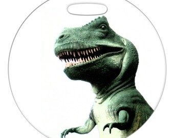 Luggage Tag - T-rex Dinosaur - 2.5 inch or 4 Inch Round Large Plastic Bag Tag