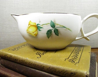 Large Porcelain Gravy Boat - Yellow Stemmed Rose - Gold Accent