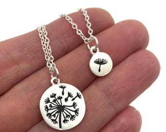 Dandelion Necklace Set, Wish Jewelry, Silver or Gold matte Dandelion necklace with tiny dandelion fluff charm, layering necklace