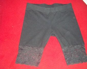 BLACK BIKE SHORTS..... upcycled.....black lace bottom.....heavy duty lycra.....sz lg