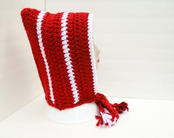 Elf Hood, Pixie Hat, Red and White Hometown Hood, Striped, Ties, Ready to Ship